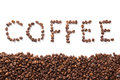 Word coffee roasted beans over white background isolated on Stock Photo