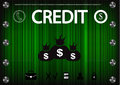 Word `credit` on a green background