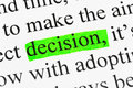 Word decision in text Royalty Free Stock Photography