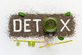 Word detox is made from chia seeds. Green smoothies and ingredients. Concept of diet, cleansing the body, healthy eating Royalty Free Stock Photo