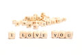 Word with dice  i love you Royalty Free Stock Photo