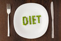 Word diet made of peas on a plate white concept Royalty Free Stock Photography