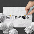Word e learning on dark crumpled paper hand drawing design and texture background as concept Royalty Free Stock Images