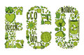Word eco with environmental icons hand drawn in green this illustration is layered for easy manipulation and custom coloring Royalty Free Stock Image