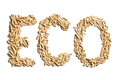 Word eco made of wood pellets Stock Photos