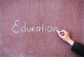 Word education written on the blackboard Stock Image