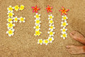 Word Fiji written on a beach with plumeria flowers Royalty Free Stock Photo