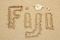 Word Fiji written on a beach Royalty Free Stock Photo