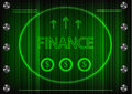 Word `finance` on a green background