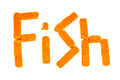 Word fish crafted from fish sticks on a white background Stock Photos