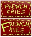 Word french fries two ideas for the words made with this food Stock Photos