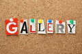 The word gallery in cut out magazine letters pinned to a cork notice board Royalty Free Stock Image