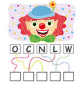 Word game with clown Royalty Free Stock Image