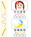 Word game for kids - girl & moon Royalty Free Stock Photo