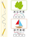 Word game for kids - leaf & boat Royalty Free Stock Photo