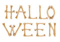 Word Halloween made of crossed bones on white