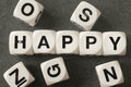 Word happy on toy cubes Royalty Free Stock Photo