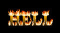 Word hell engulfed in flames on black background Stock Image