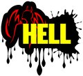 Word hell image representing the with a stylized daemon and flames Stock Photography