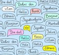 Hello, European languages, seamless pattern, contour drawing, blue, color, vector.