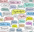Hello, European languages, seamless pattern, contour drawing, color, white, vector.