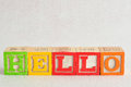 The word hello spelled with colorful alphabet blocks Royalty Free Stock Photo