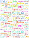 The word Hello written with the different world languages Stock Photo