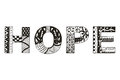 Word Hope Zentangle Stylized, ...