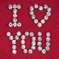 The word i love you made by ​​with rhinestones can be used as background Royalty Free Stock Images