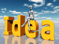 The word idea with female robot computer generated d illustration and letters Royalty Free Stock Photography