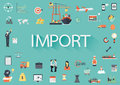 Word import with involved set of flat icons around Stock Photos