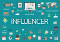 Word influencer with involved flat icons around Stock Photography
