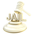 Word jail under judge's gavel Royalty Free Stock Photo