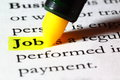 Word job highlighted with a yellow marker Royalty Free Stock Photo