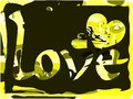 Word love on colorful background