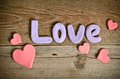Word Love Composition And Hearts