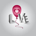 Word love the and a flying balloon with heart white background Stock Images