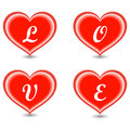 The word Love in hearts Royalty Free Stock Photography
