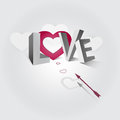 Word love illustration of the and arrow flying to the heart Stock Images