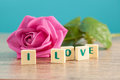 The word love and pink roses on table Royalty Free Stock Photos