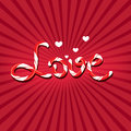 Word love poster written with candy cane letters on red sunburst background Stock Photography