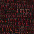 Word love, red colored, hand drawn vector seamless pattern Royalty Free Stock Photo