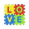 Word love written with alphabet puzzle letters illustration Stock Photo