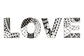 Word love zentangle stylized on white background, vector, illust Royalty Free Stock Photo