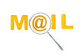 Word mail under the magnifier Royalty Free Stock Photography