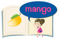 Word mango on children book Royalty Free Stock Photo