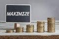 Word Maximize in white chalk Royalty Free Stock Photo