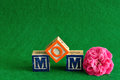 The word mom spelled with alphabet blocks Royalty Free Stock Photo