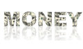 Word money made of dollars Royalty Free Stock Photo