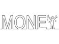 The word money with a man standing in it black line art of Stock Images